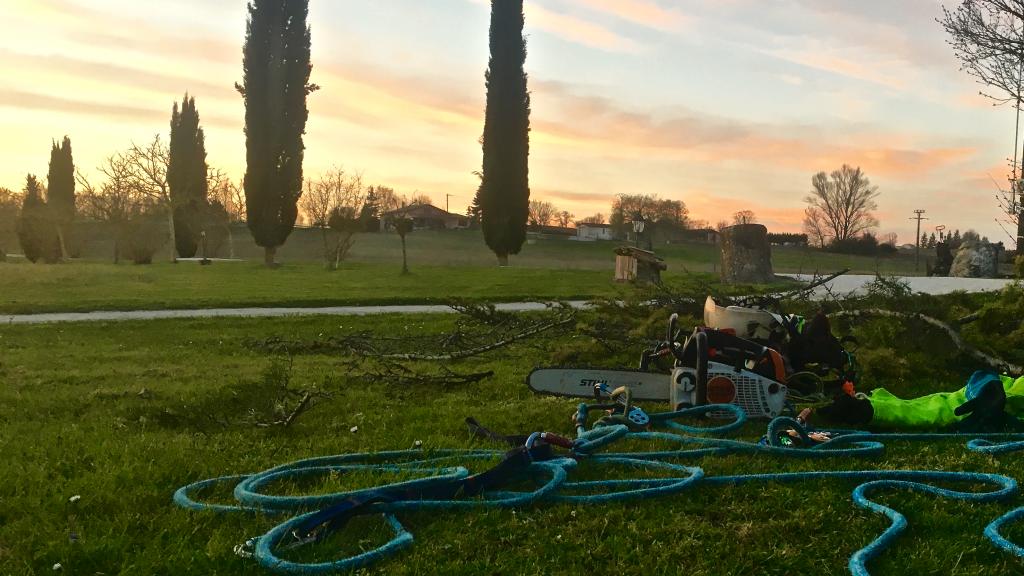 Fin de chantier avec le coucher de soleil en fond | Arbiosa élagage et paysage